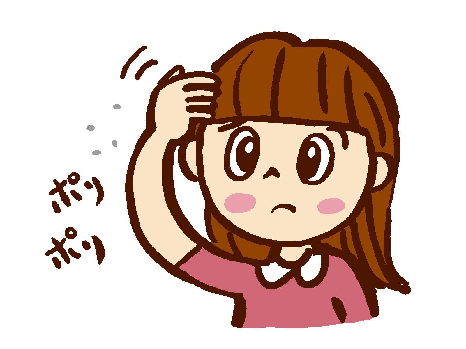 頭を掻く女性のイラスト